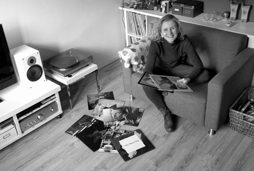 Frida Miedema with her record collection